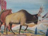 Harry G. Bentz Painting Oil on Board Montana Folk Art - 4 of 7