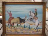 Harry G. Bentz Painting Oil on Board Montana Folk Art - 3 of 7