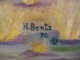 Harry G. Bentz Painting Oil on Board Montana Folk Art - 2 of 7
