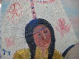 Harry G. Bentz Painting Oil on Board Montana Folk Art - 4 of 6