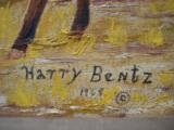 Harry G. Bentz Painting Oil on Board Montana Folk Art - 2 of 6