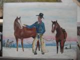 Harry G. Bentz Original Oil Painting Montana Folk Art - 1 of 8
