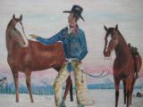 Harry G. Bentz Original Oil Painting Montana Folk Art - 7 of 8