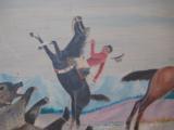 Harry G. Bentz Oil Painting Montana Folk Art - 4 of 9