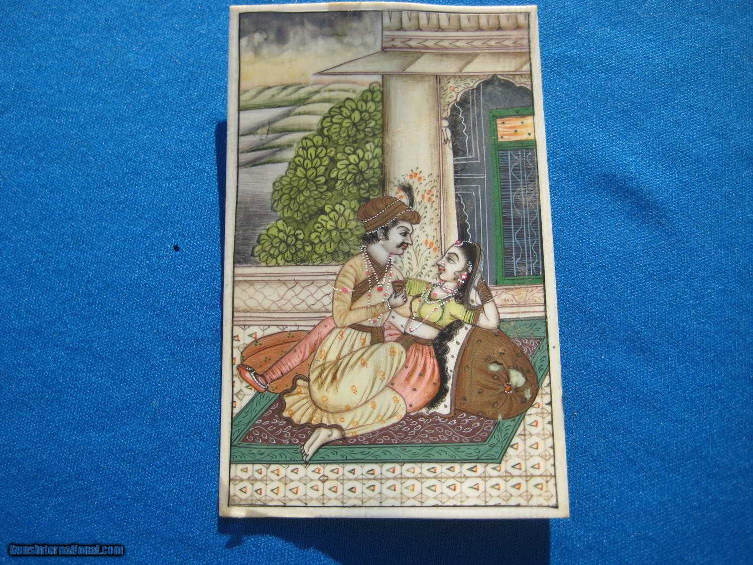 Antique India Mughal Miniature Painting Royal Couple in
