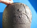 Chinese Qing Dynasty Cast Iron Vase with Roses & Butterflies Signed - 4 of 15