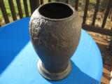 Chinese Qing Dynasty Cast Iron Vase with Roses & Butterflies Signed - 1 of 15