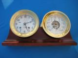 Chelsea Ships Bell Clock & Barometer w/Original Mahogany Stand - 1 of 12