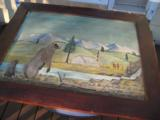 Harry G. Bentz Oil Painting Montana Folk Art Circa 1970