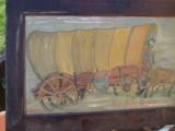 Conestoga Wagon Folk Art Oil Painting Circa 1920 Richmond Va. Artist - 4 of 7