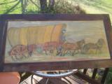Conestoga Wagon Folk Art Oil Painting Circa 1920 Richmond Va. Artist