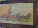 Conestoga Wagon Folk Art Oil Painting Circa 1920 Richmond Va. Artist - 5 of 7