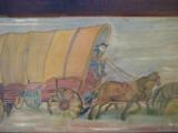 Conestoga Wagon Folk Art Oil Painting Circa 1920 Richmond Va. Artist - 2 of 7