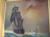 Nautical Oil Painting American Sailing Ship by Maud Sedalia Proctor Circa 1920's - 3 of 11