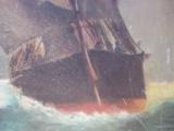 Nautical Oil Painting American Sailing Ship by Maud Sedalia Proctor Circa 1920's - 7 of 11