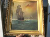Nautical Oil Painting American Sailing Ship by Maud Sedalia Proctor Circa 1920's - 11 of 11