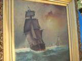 Nautical Oil Painting American Sailing Ship by Maud Sedalia Proctor Circa 1920's - 6 of 11