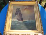Nautical Oil Painting American Sailing Ship by Maud Sedalia Proctor Circa 1920's - 1 of 11