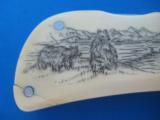 Custom Folder by John Hoskins Cheney, Wa.Walrus Ivory Scimshaw Scales Circa 1984 - 12 of 21
