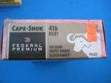 Federal Premium Cape Shock 416 Rigby 400 Grain Trophy Bonded Sledgehammer Full Box