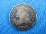 U.S. 1821 Capped Bust Dime 10 Cent VG10