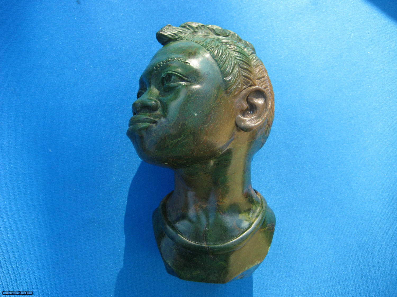 Green verdite shona sculpture by israel chikumbirike signed