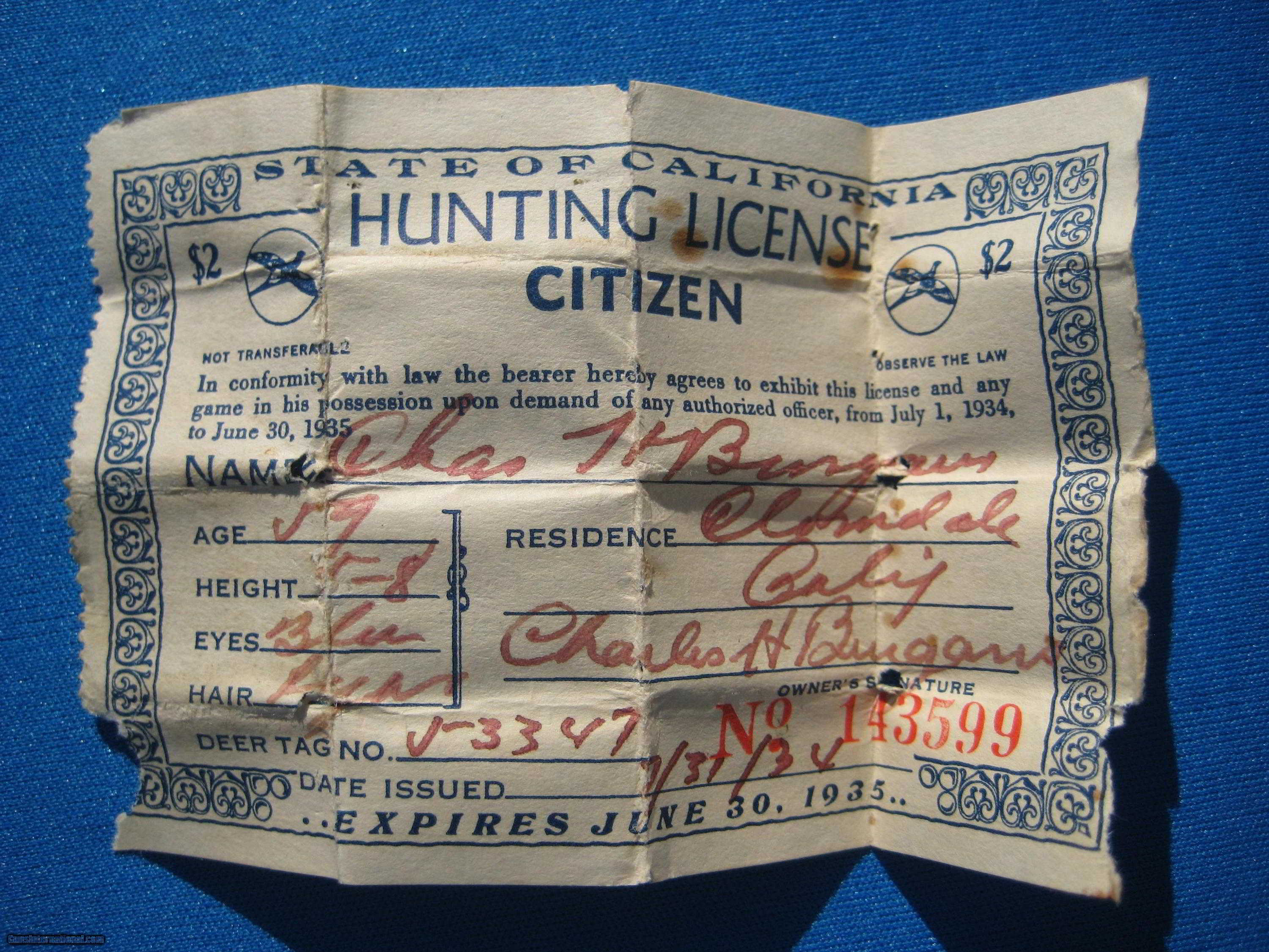California button hunting resident license 1934 1935 for Virginia non resident fishing license