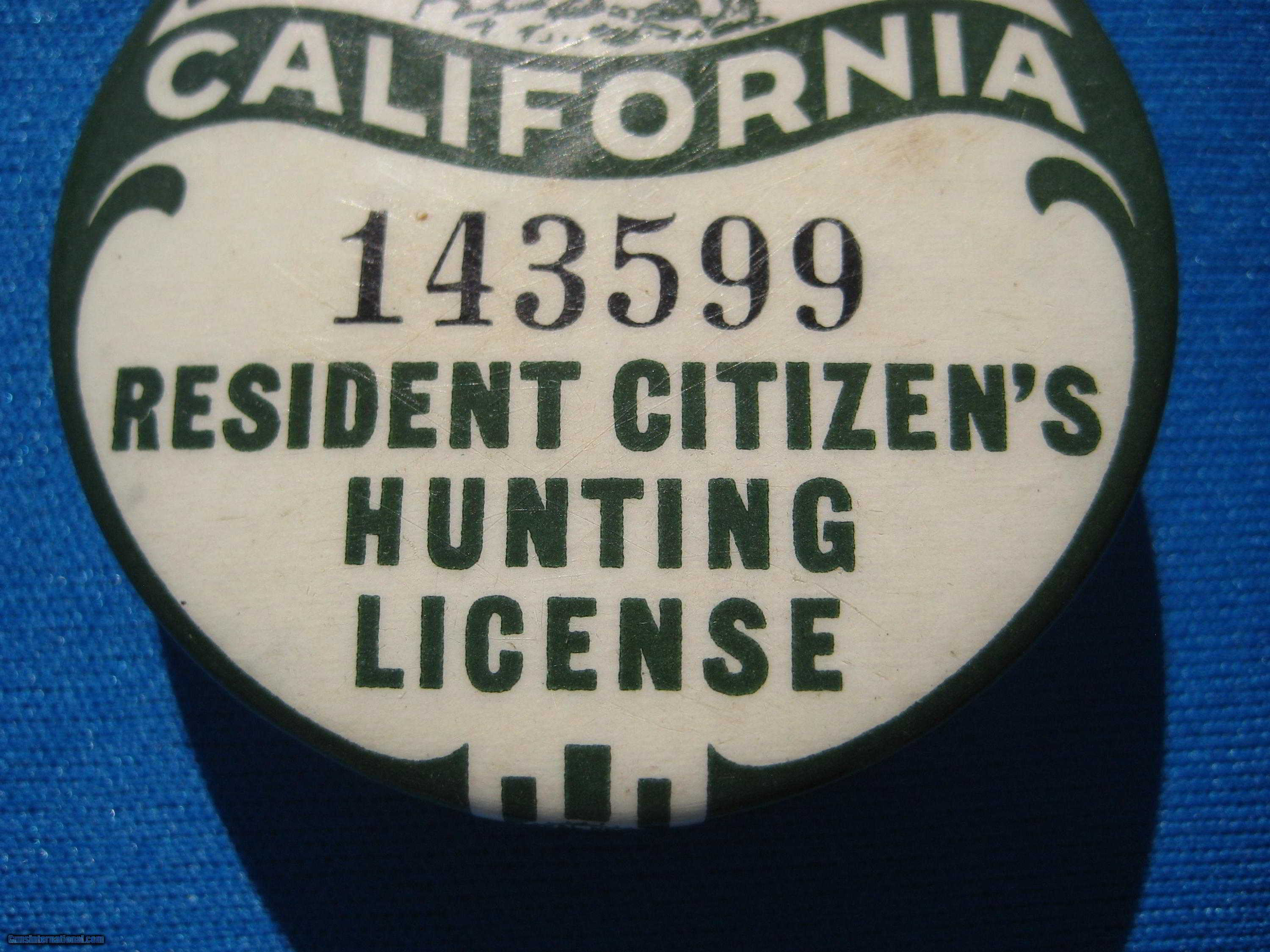 California button hunting resident license 1934 1935 for Va fishing license price