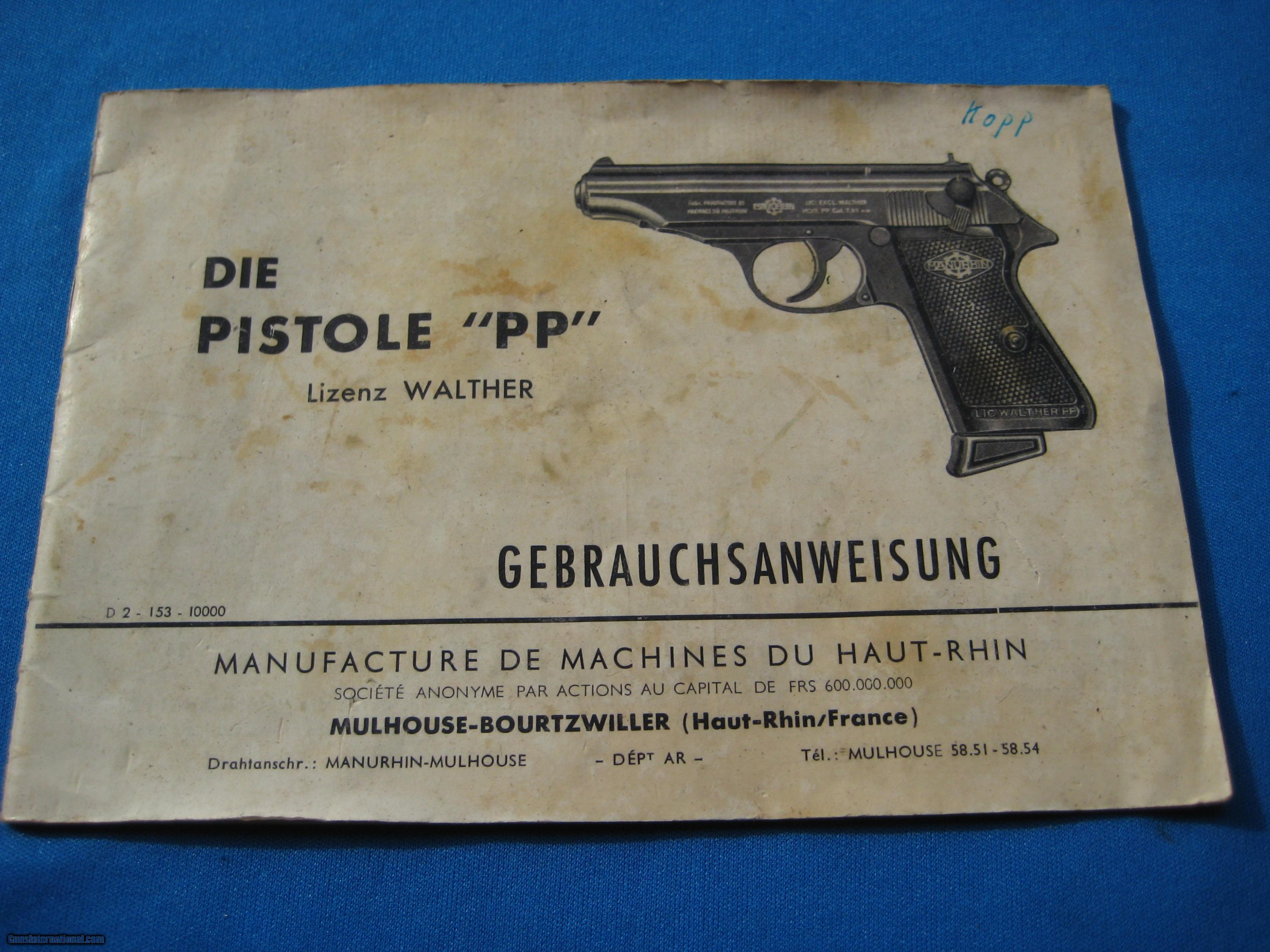 walther pp manurhin 2 pc box original w manual rh gunsinternational com walther pp user manual walther pp disassembly manual