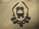 """Navajo Sawtooth Squash Blossom Necklace, Bracelet & Earings Signed """"RHY"""" Turquoise & Red Coral"""