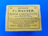 Kynoch 7mm Mauser Full Box (50) Date Code 8/39
