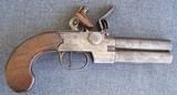 British Flintlock Over/ under double barreled pistol