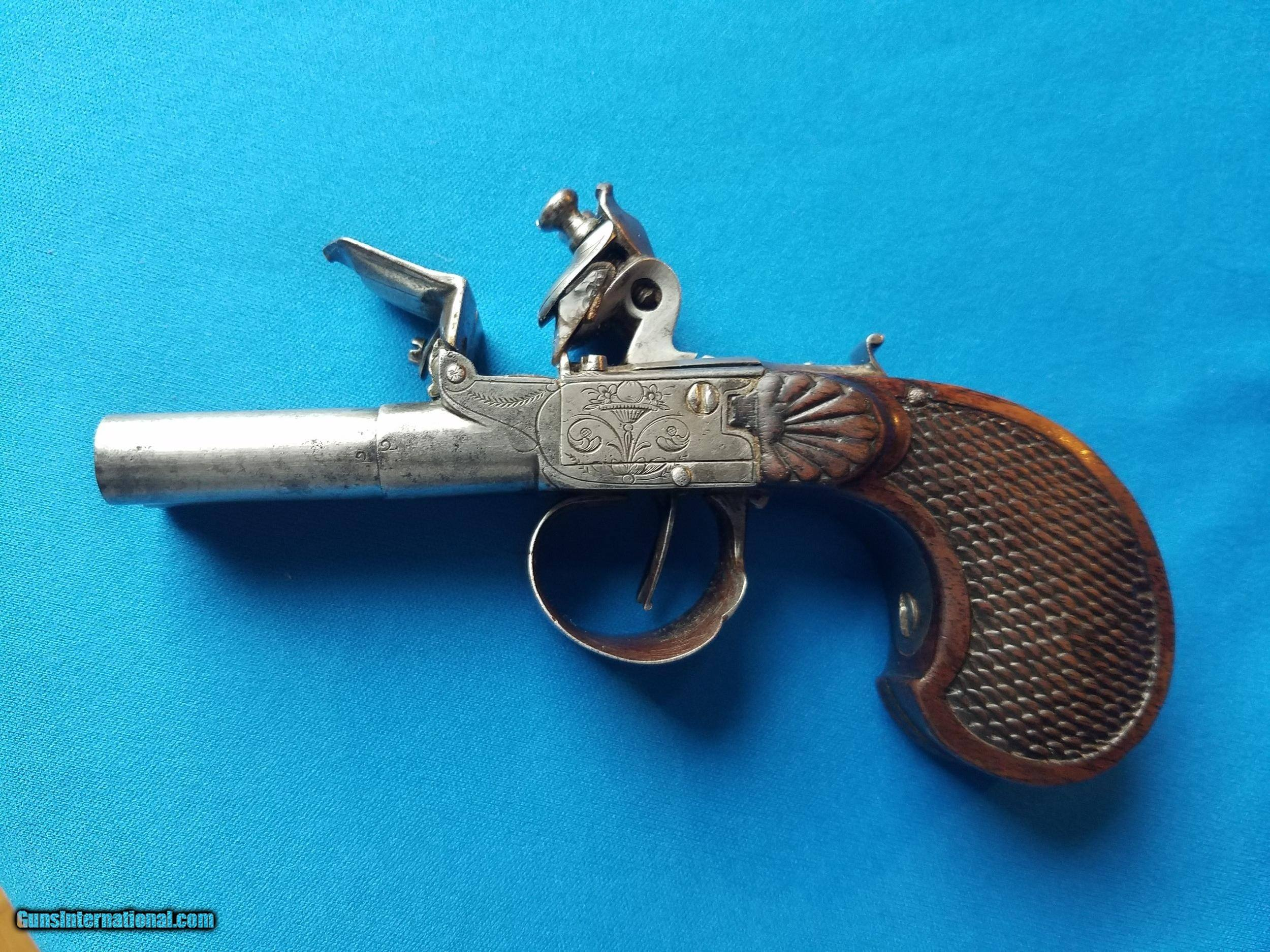 French Double Barrel Flintlock Coat Pistol Circa 1780 for sale