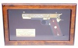 Colt 1991A1 West Point WWII Tribute 45 ACP Pistol 24 Karat Gold #37 of 500 Mint In Display Case W/Colt Box - 2 of 12
