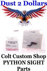 Colt Custom Shop Colt PYTHON #W5255 White Outline Rear Sight Insert Red Ramp Front Blade NEW In Package