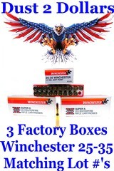 Three 3 Boxes Factory 25-35 WCF Winchester Ammo Ammunition 117 grain RNSP Matching Lot Numbers CLEAN AMMO! - 1 of 1