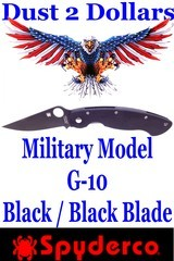 Spyderco Military Model G-10 Black with Plain Black Blade in As New Condition With No Box - 1 of 7