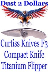 EARLY David Curtiss Knives F3 Compact Titanium Flipper Knife in As New Condition - 1 of 7