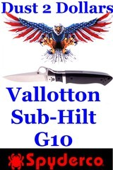 Spyderco Sub Hilt Vallotton Plain Edge Folding Knife Polished G-10 Scales Excellent Condition Not Carried - 1 of 7