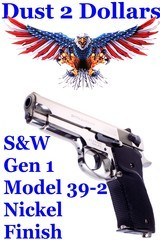 1st Generation Circa 1980 Smith & Wesson Model 39-2 1st Gen 9mm Semi Automatic Pistol with Factory Nickel Finish 3x Mags - 1 of 12