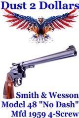 Smith & Wesson K-22 Masterpiece Magnum Rimfire Model 48 No Dash 4-Screw Version .22 Magnum Revolver Mfd 1959 1St Year - 1 of 19