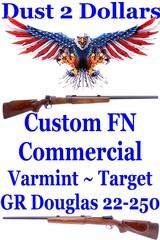 "Gorgeous Custom Target Varmint 22-250 Rifle Built on FN Commercial 98 G R Douglas 26"" HB with Canjar Set Trigger"