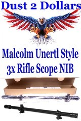 "Hi-Lux Optics 3/4"" Malcolm Unertl Style Rifle Scope 17"" Long 3 Power 3X New and Factory Sealed In The Box - 1 of 2"