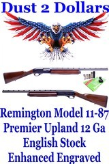 enhanced engraved remington model 11 87 premier 12 ga upland special english straight stocked shotgun 23 1/2barrel