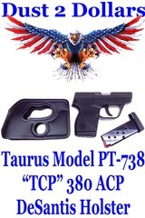 Taurus Model PT-738 TCP 380 ACP Taurus Total Compact Polymer Pistol 2X Factory Mags and DeSantis Pocket Shot Holster - 1 of 8