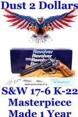 Gorgeous Smith & Wesson Model 17-6 K-22 Masterpiece .22 Long Rifle Revolver With The Box Made Only In 1990