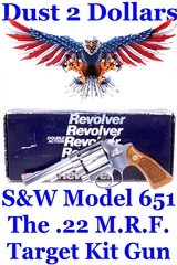 gorgeous smith & wesson stainless model 651 22 magnum the .22 m.r.f. target kit gun with 4 inch barrel in original box