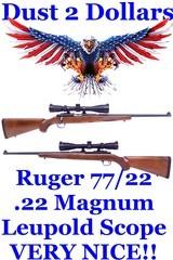 pristine ruger model 77/22 .22 magnum bolt action rifle mfd 1993 blued walnut stock leupold 3 9x40 rimfire moa scope