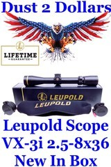 NEW Leupold 170678 VX-3i 2.5-8x36mm Matte Finish Rifle Scope Duplex Reticule Lifetime Warranty with Butler Creek flip-up Covers