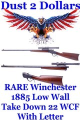 RARE Winchester Model 1885 Low Wall Takedown Rifle in .22 WCF with Factory Letter Winchester Tool Ammunition Mfd 1911